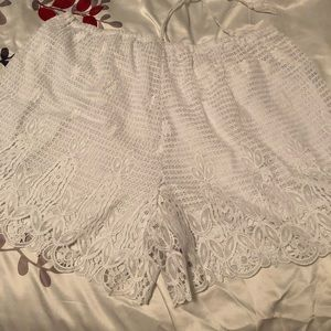 Cato Shorts - White Lacy Linen Drawstring Shorts